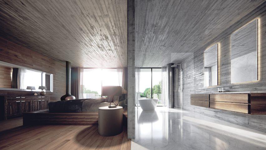 camera moderna con bagno
