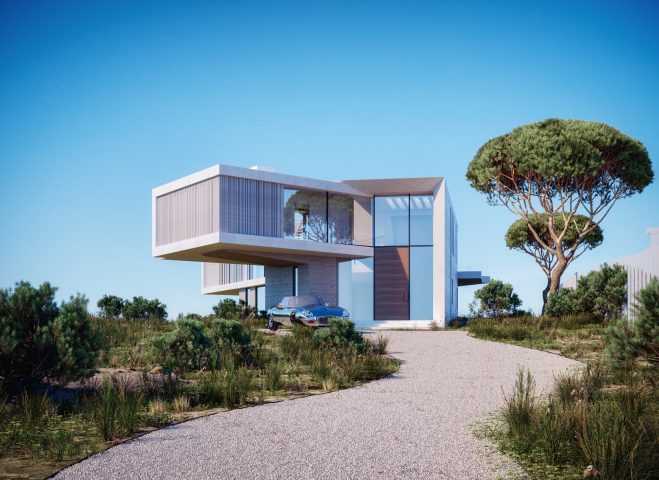 villa-3D-rendering-entrance-new-york-montauk