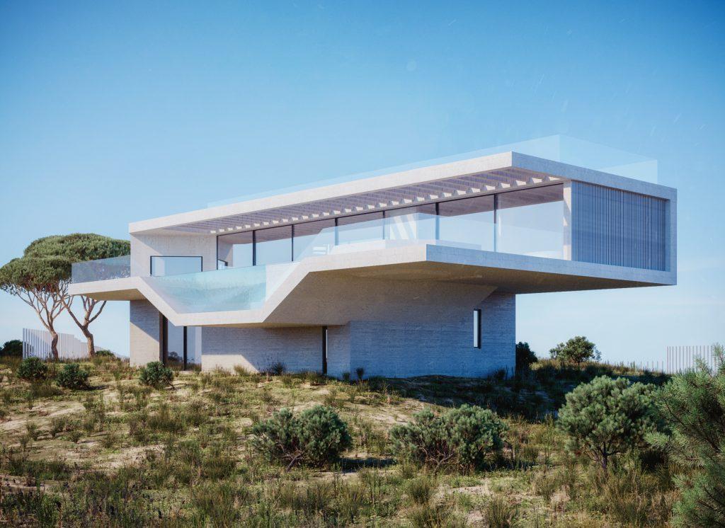 3D rendering modern villa, hamptons