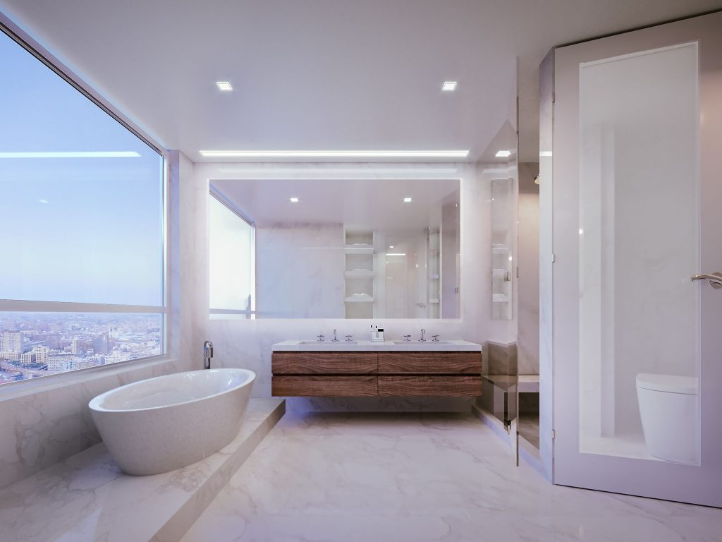 3D rendering modern bathroom bathtub