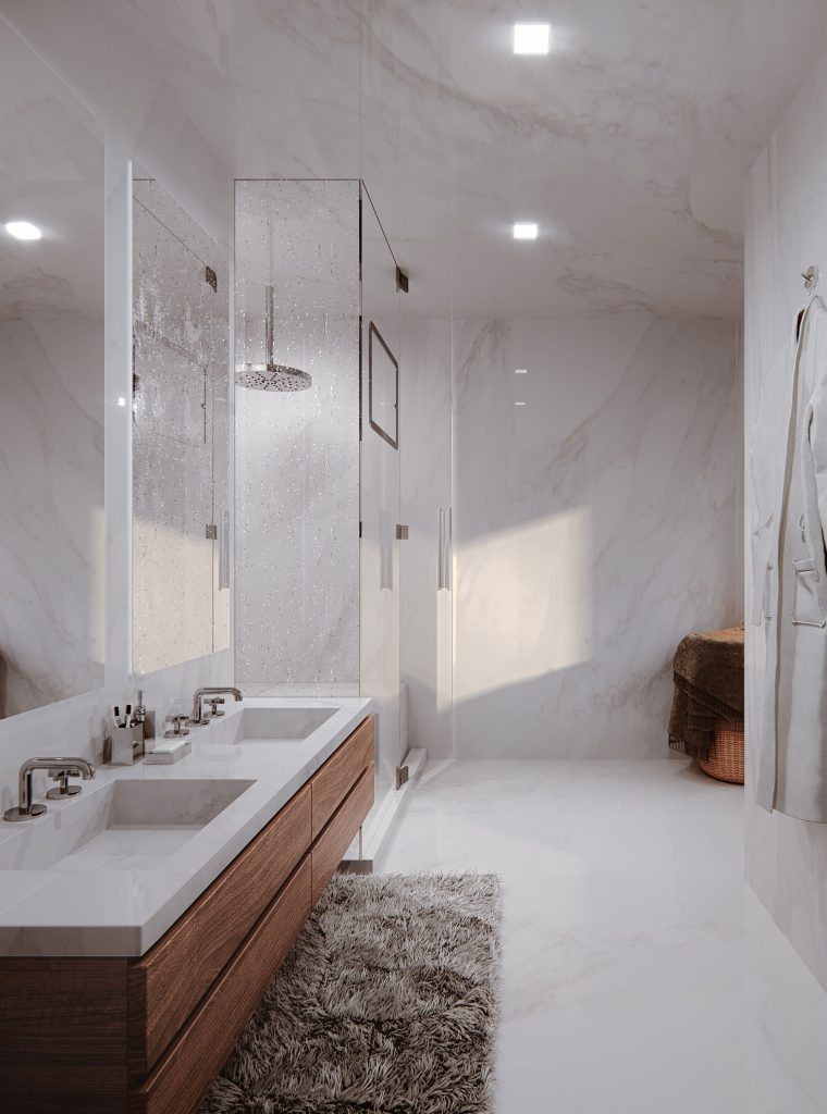 3D rendering modern bathroom shower