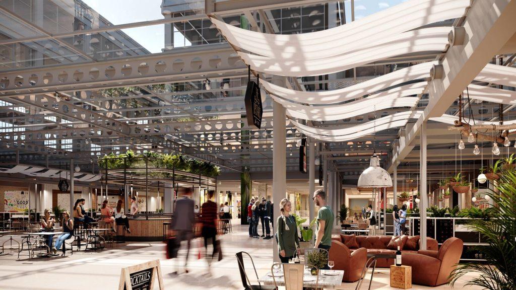 3D rendering mall interior daylight