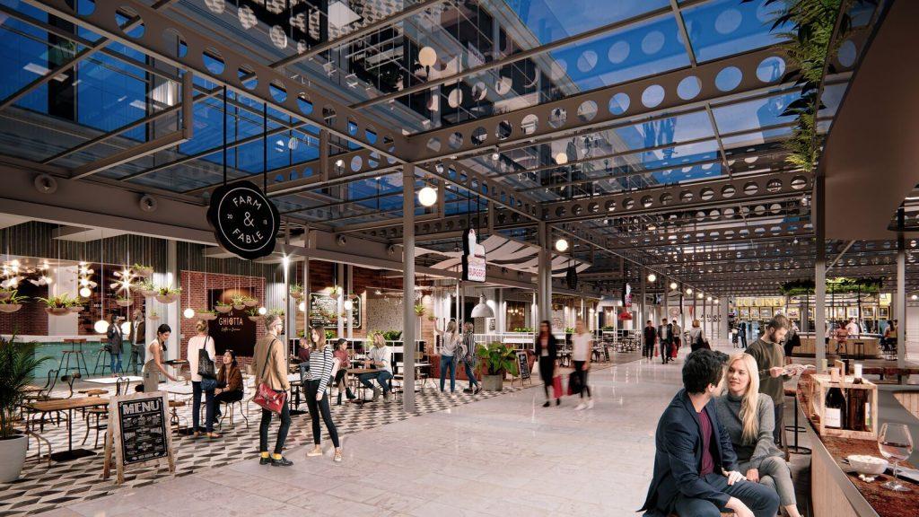 3D rendering mall interior dusk