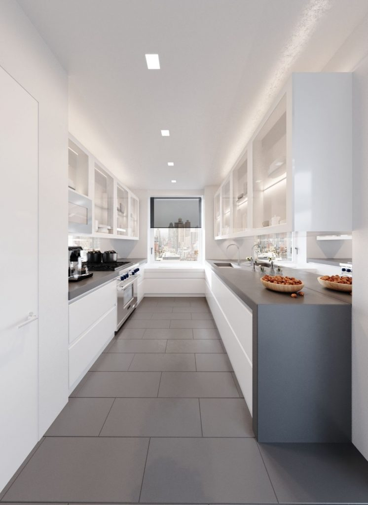 3D rendering modern kitchen white