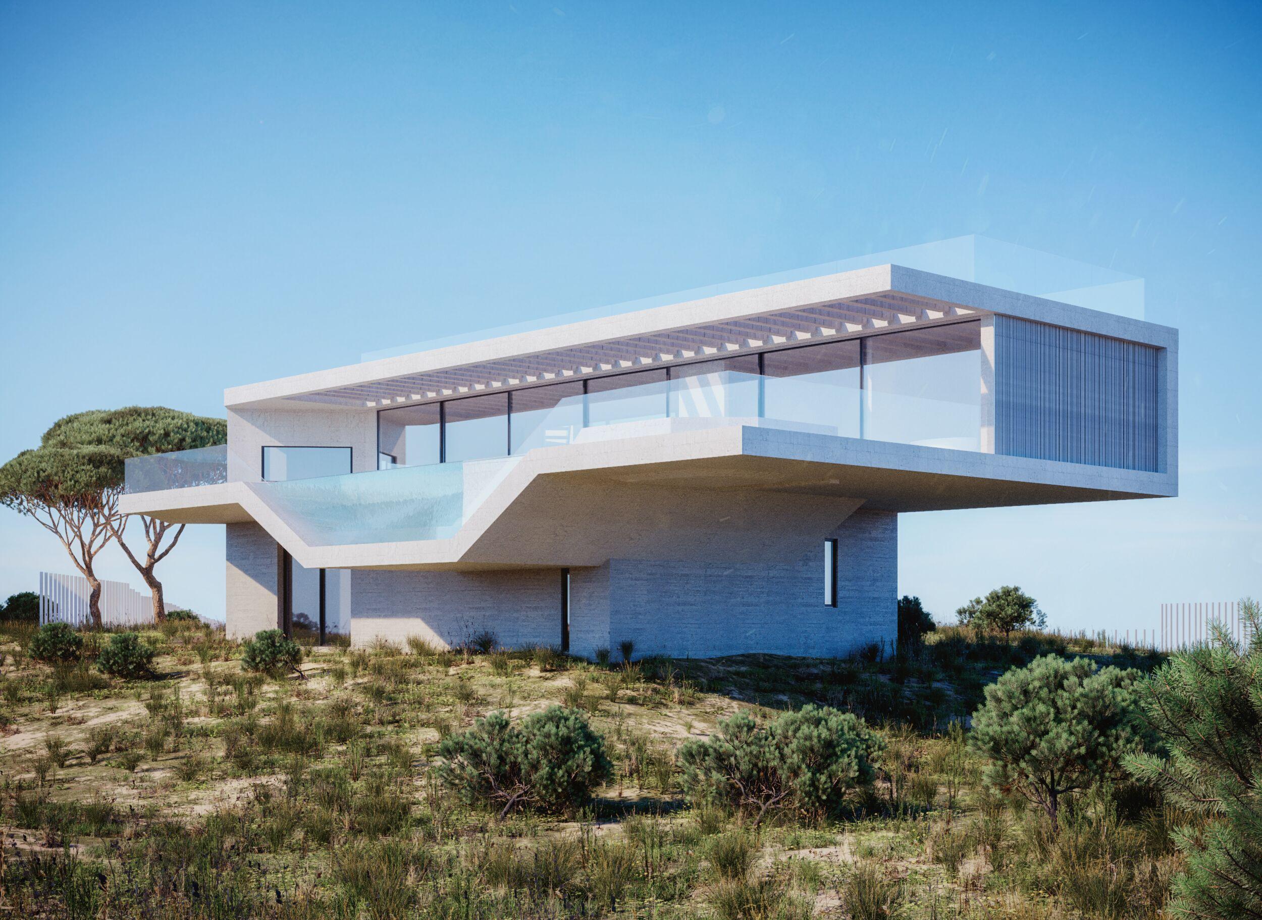 rendering 3D esterno villa