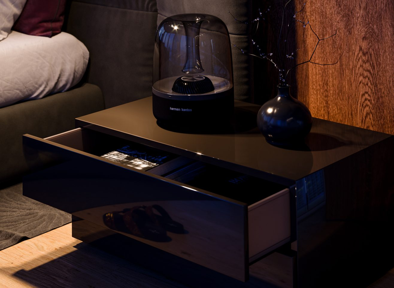 rendering 3D interior design lampada