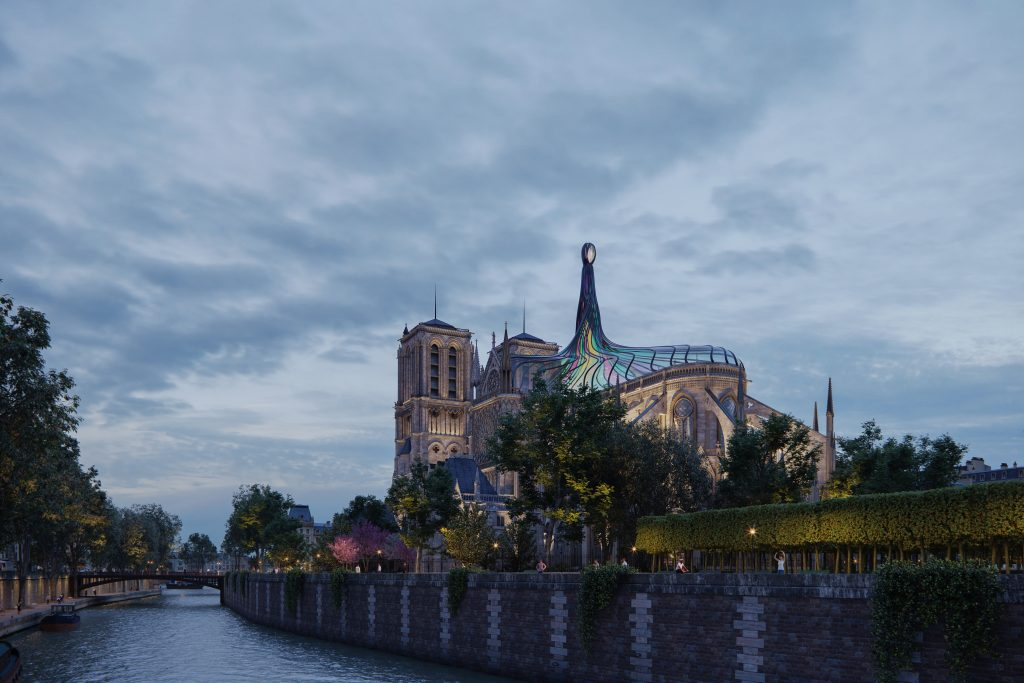 3d render exterior design notre dame cathedral