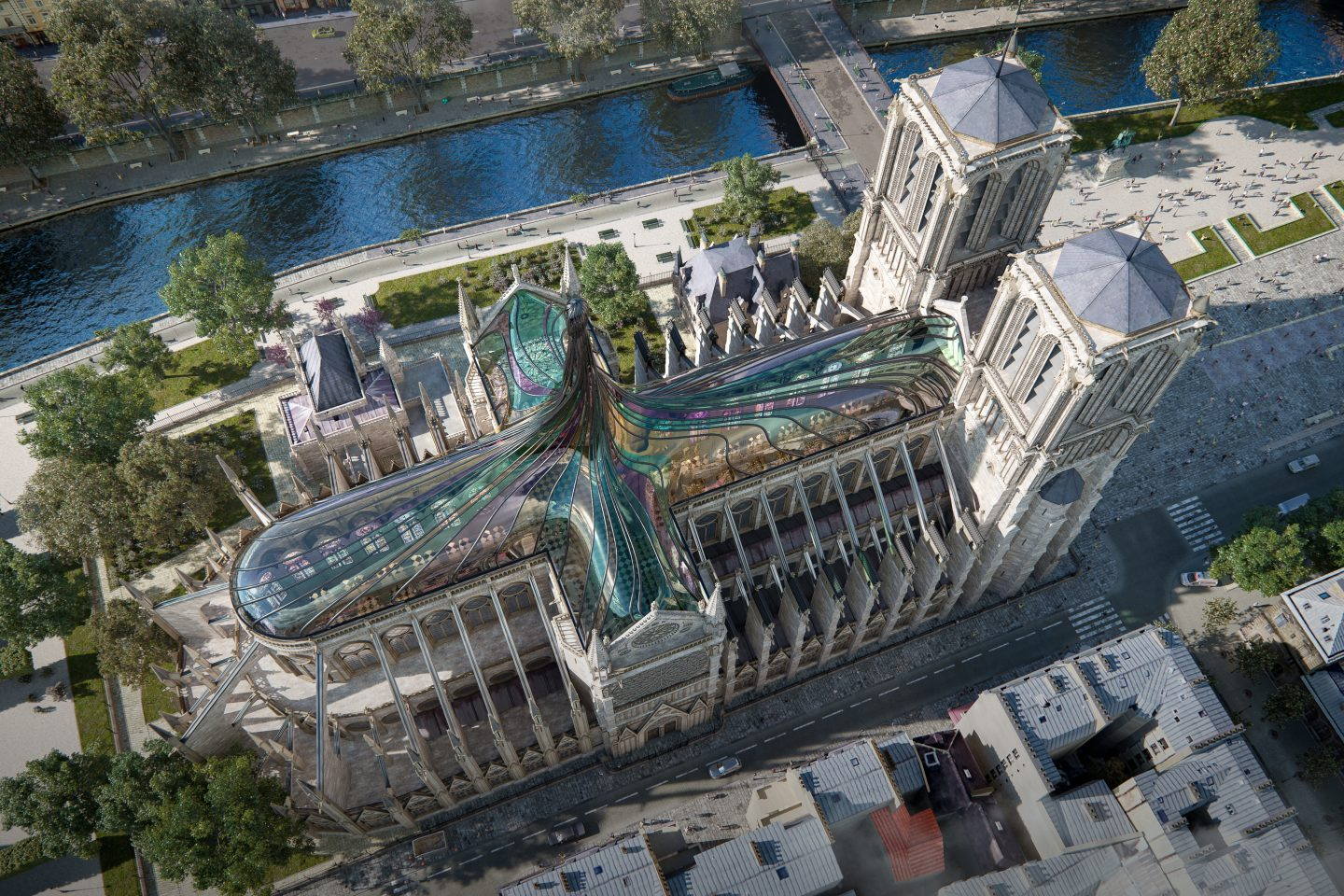 cattedrale notre dame 3d rendering