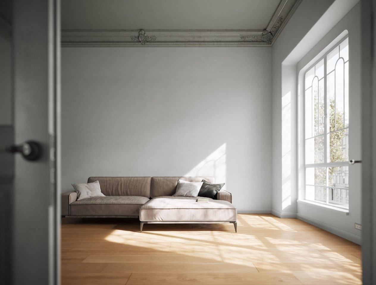 sala divano render 3D
